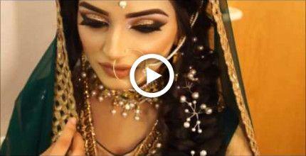 mehndi bridal makeup hair | arabic asian indian pakistani | gold smokey eye makeover nude
