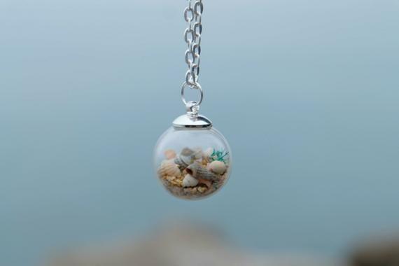 Mermaid Necklace  Ocean  Sand and Seashells  Shell Necklace  Sea Pendant  Mermaid Gifts  Mermaid Jewelry  Ocean Jewelry
