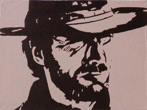 "CLINT EASTWOOD in High Plains Drifter / ORIGINAL Pop Art Acrylic Painting Measuring 9"" X 12"" : Signed on the back by the artist."
