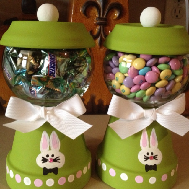 Home Craft Ideas Easter Bunny Flower Pot Craft Flower Pot: My Easter 'gum Ball' Machines That I Made. :)