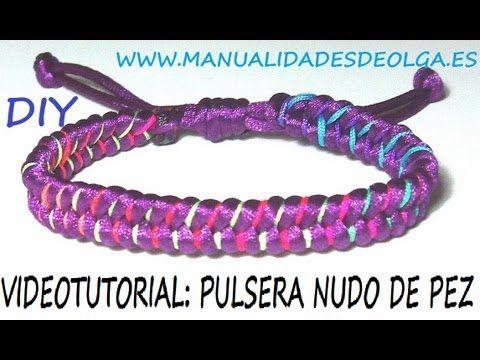 COMO HACER UNA PULSERA DE NUDO DE PEZ MORADA Y COLORES NEON TUTORIAL DIY - YouTube