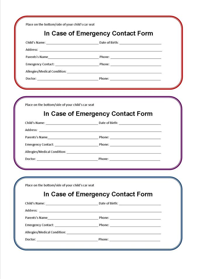 printable emergency contact form for car seat pinterest emergency responder car seats and contact form