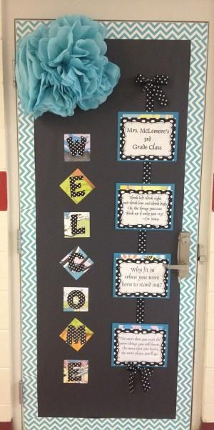 Dr. Seuss Chevron Quotes Classroom Door with CTP's NEW Turquoise Chevron Border. Such a cute chevron classroom idea! #chevrondoor #chevronideas by carlani