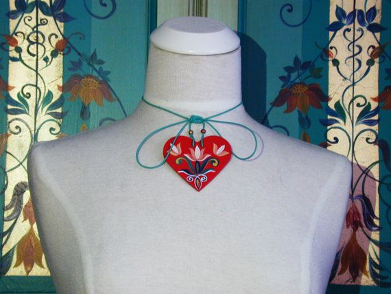 Tulip Tally - Series 01 - red, handpainted heart 2-in-1 necklace and bag jewellery inspired by traditional, historic Transylvanian style