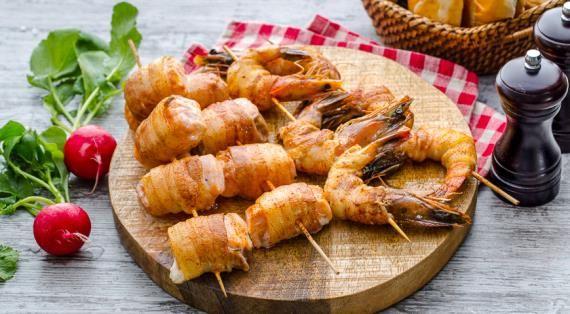 Рыба и креветки-гриль с беконом. Пошаговый рецепт с фото, удобный поиск рецептов на Gastronom.ru