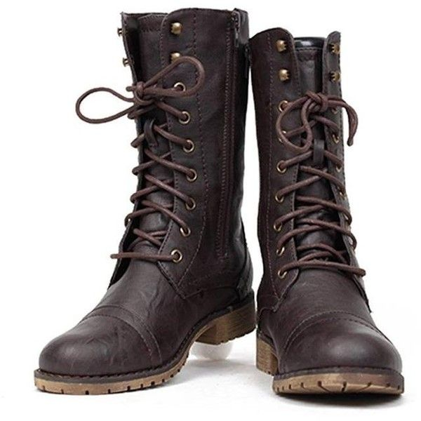 Amazon.com | Lug 11 Womens Military Lace up Combat Boot | Mid-Calf ($25) ❤ liked on Polyvore featuring shoes, boots, combat boots, laced boots, mid calf military boots, military style combat boots and military combat boots