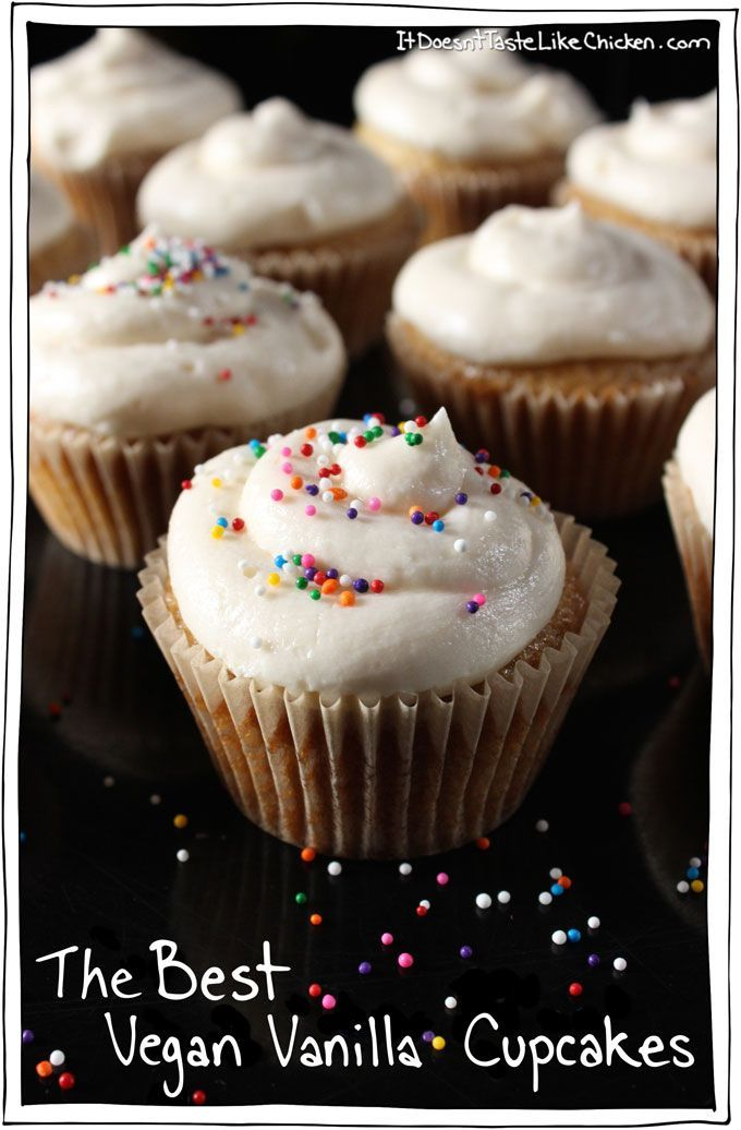 The Best Vegan Vanilla Cupcake. Period. This recipe is everything I look for in a cupcake, light fluffy, sweet-vanilla deliciousness, simple to make, and even simpler to eat. #itdoesnttastelikechicken