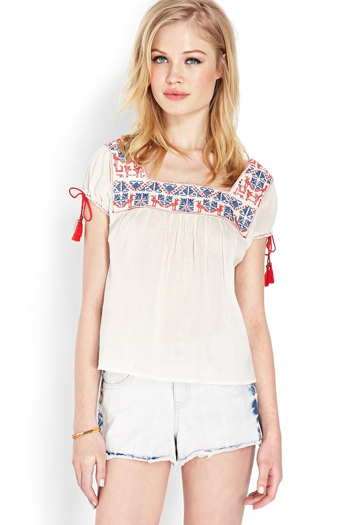 Whimsical Embroidered Peasant Top | FOREVER21 - 2000061434