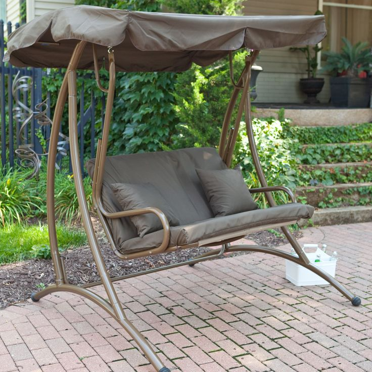 Long Bay 2 Person Canopy Swing Chocolate Size X In