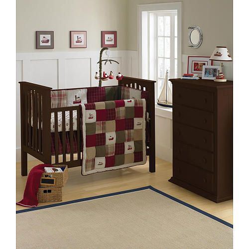 Baby Boy Room-I Like The Burgundy And Earth Tones Against