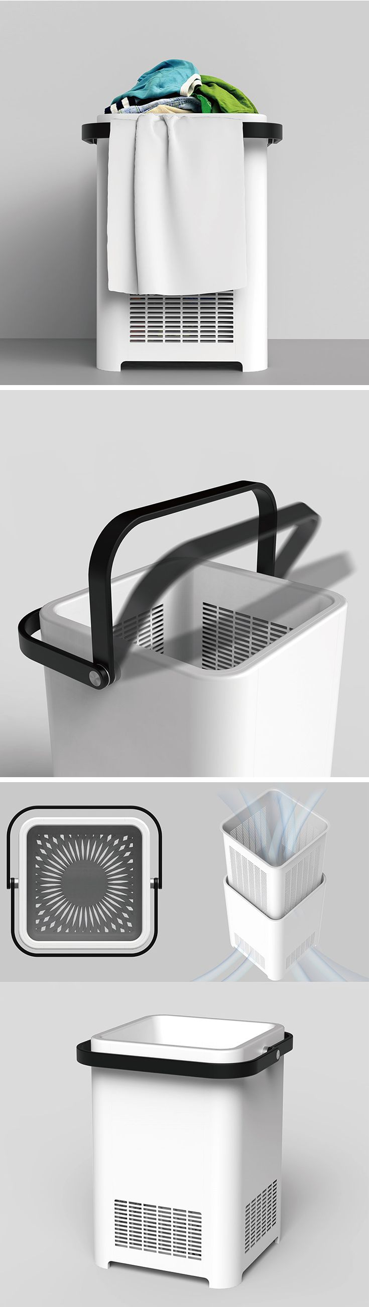 Throwing your wet bath towels into the laundry will only end up making your hamper and clothes reek of mildew. It's a good idea to leave your towels hanging out to dry before adding them to the pile. Designed with this in mind, the aptly-named Towel Rack Laundry Basket provides a convenient place to hang your wet towels. Simple hang them over the handles until they're dry! Then, fold up the handles to carry your laundry to the washer.