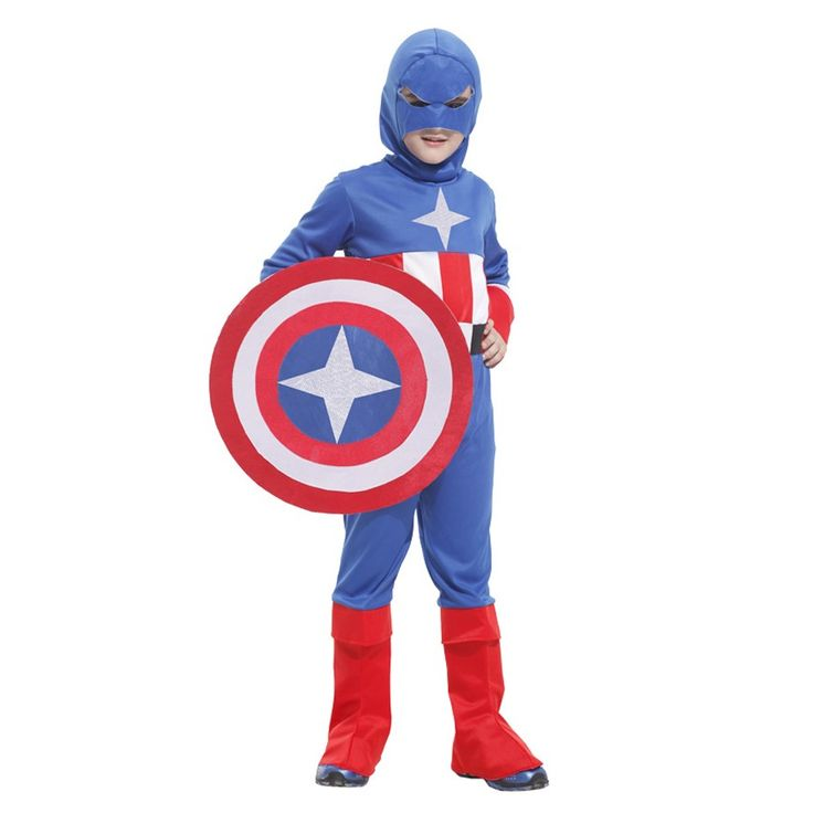 MOONIGHT 4 Pcs Long Sleeve Children's Halloween Costumes Boys Captain America Costume Kids Cosplay Outfits Costume #Affiliate