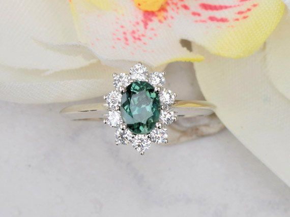 Blue Green Sapphire Diamond Cluster Engagement Ring Kate Middleton Style Ring #blue_green_sapphire #diamond_cluster_ring #Eng