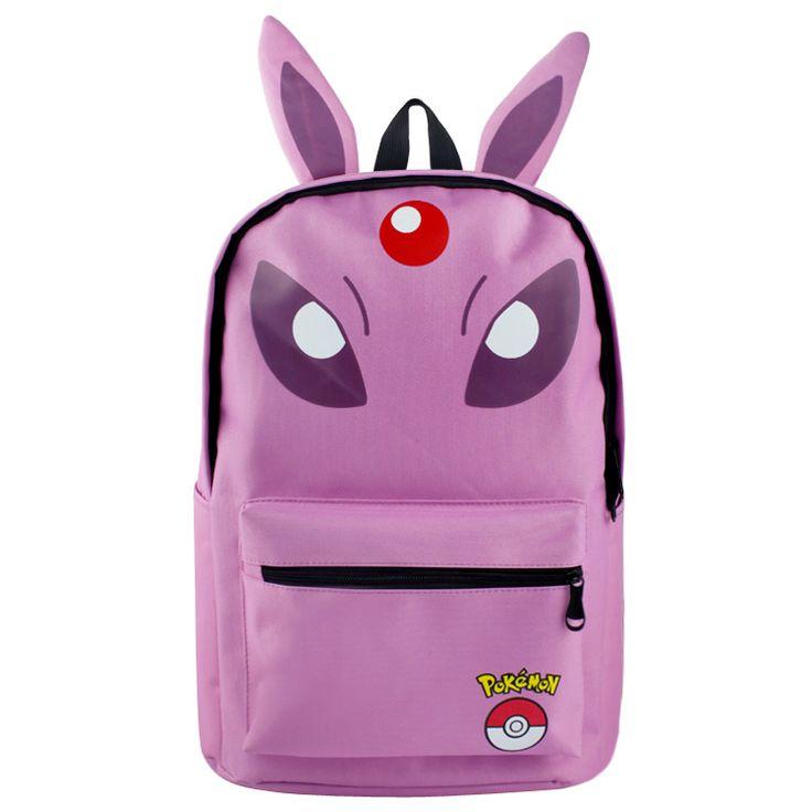 2016 Pokemon Espeon Jolteon Cartoon Student Canvas Printed School Bag Work Bags Men Women Travel Softback Backpacks