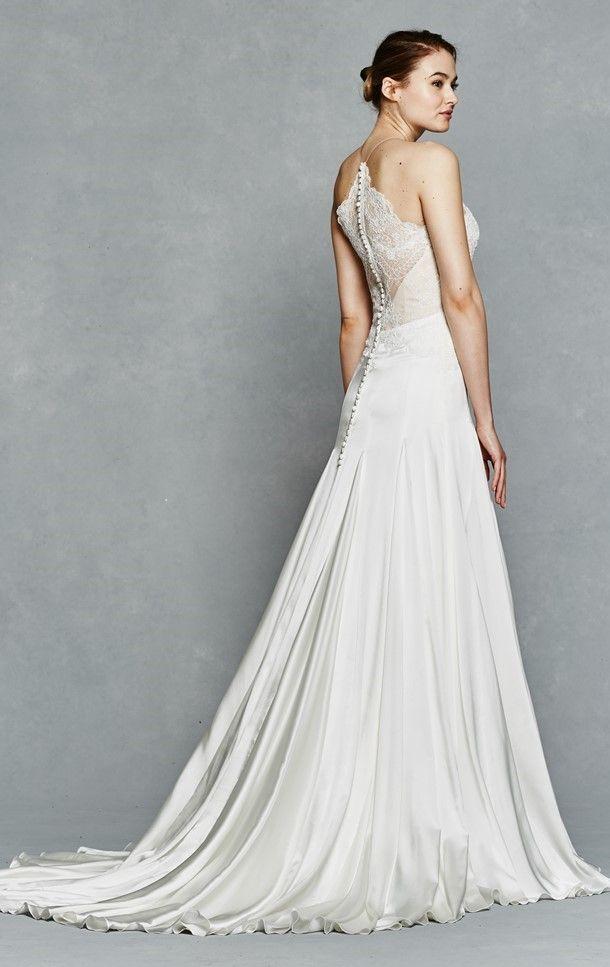 Cool kelly faetanini bridal spring sleeveless halter neck aline alencon lace bodice wedding dress rosalee bv illusion back train Kelly Faetanini Spring