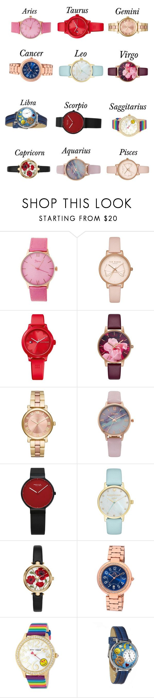 """Zodiac Sign + Watches"" by emilymalik043 ❤ liked on Polyvore featuring Boum, Ted Baker, Tommy Hilfiger, MICHAEL Michael Kors, Vivani, Kate Spade, Porsamo Bleu, Betsey Johnson and Whimsical Watches"