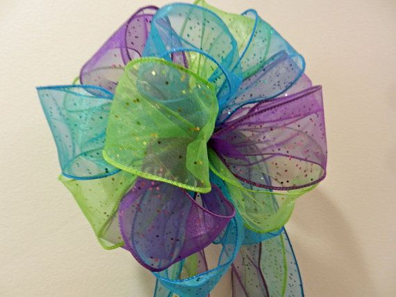 Glitter Peacock colors Teal Blue lime green by creativelycarole