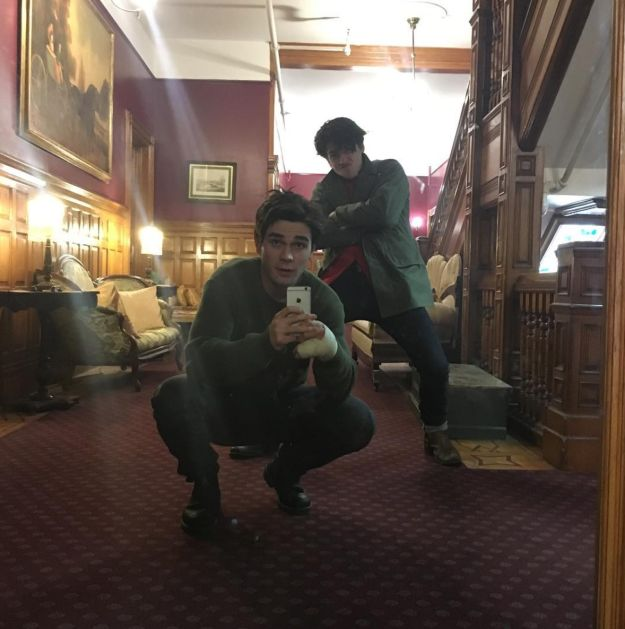 """When he went on a roadtrip with Cole Sprouse (Jughead) and they took this photo. 