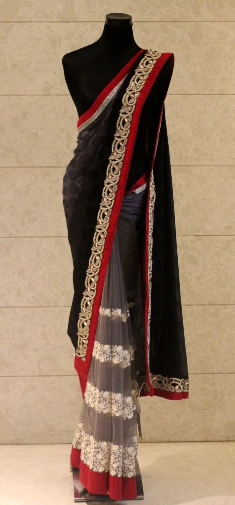 Saree in grey pallu and black chiffon.  To get more details, please write to us on info@pritisahni.com