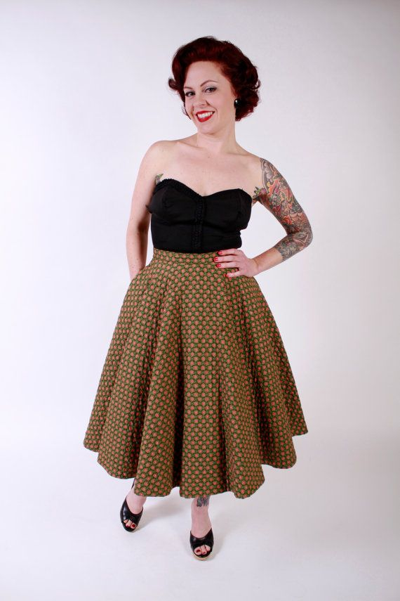 1950s Vintage Skirt...Spring Fashion Green and Red Floral Print Quilted Cotton 50s Full Skirt Size Small on Etsy, $64.00