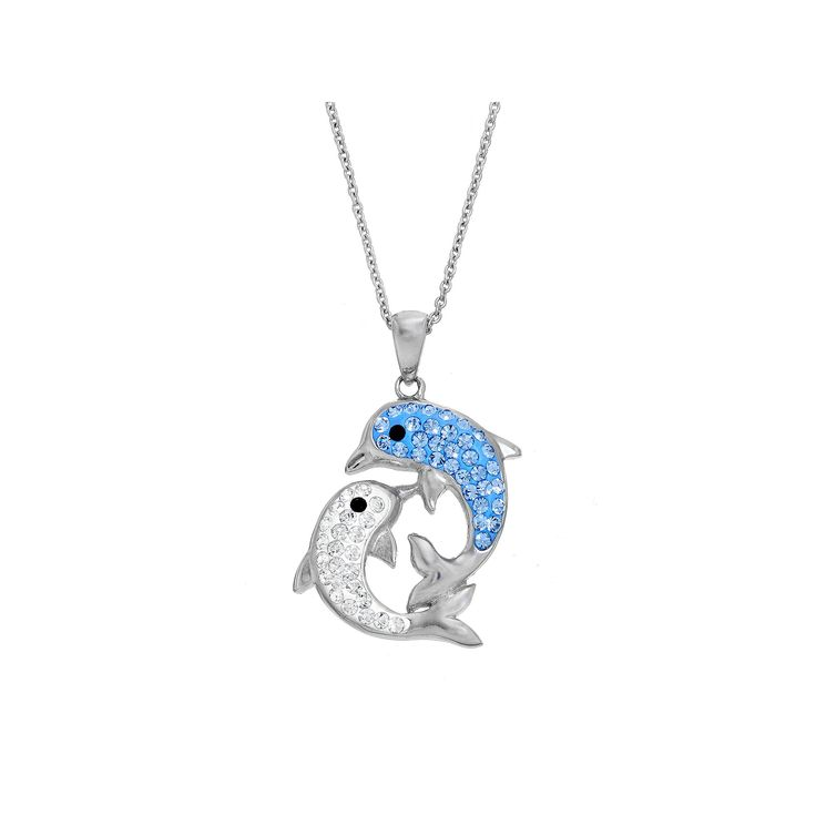 Crystal Dolphin Pendant Necklace, Women's, Blue