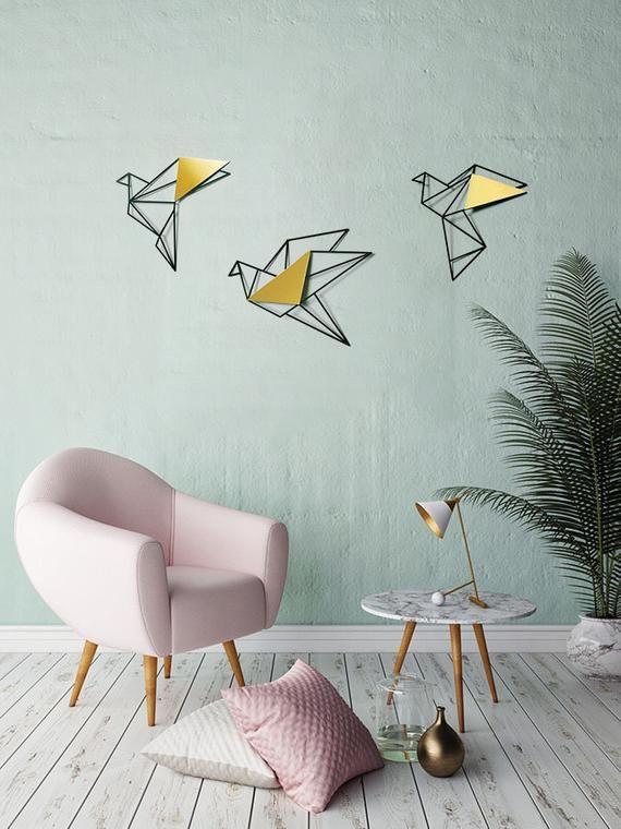 Set Of 3 Wall Art Geometric Birds Gold Metal Bird Wall Art Metal Birds Wall Decor Home Decor Gifts Minimalist Wall Art Valentines Day Bird Wall Decor Geometric Bird Metal Bird Wall