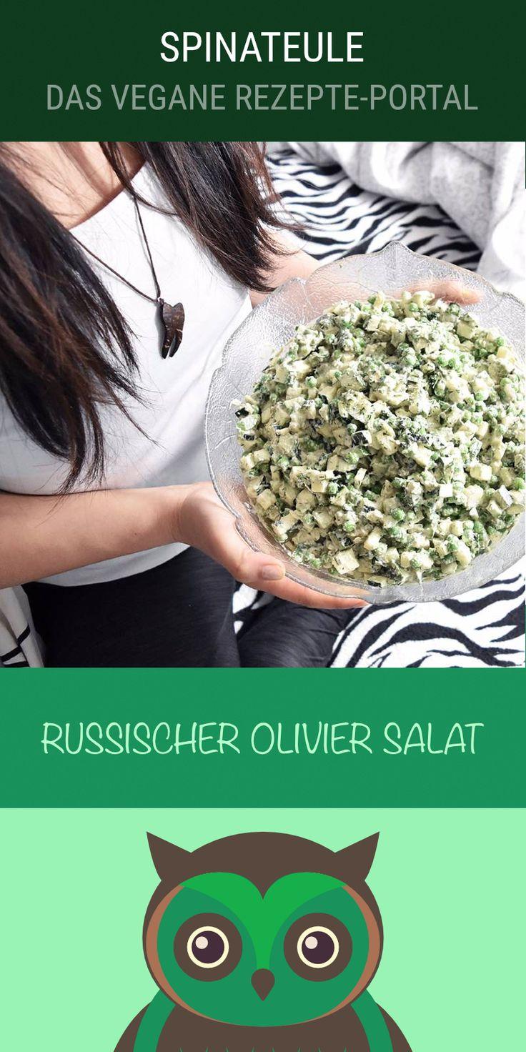 Russischer Olivier Salat - Veganes Rohkost Rezept mit Erbsenkeimlinge, Gurke, kleine Zucchinis, Avocados, ...