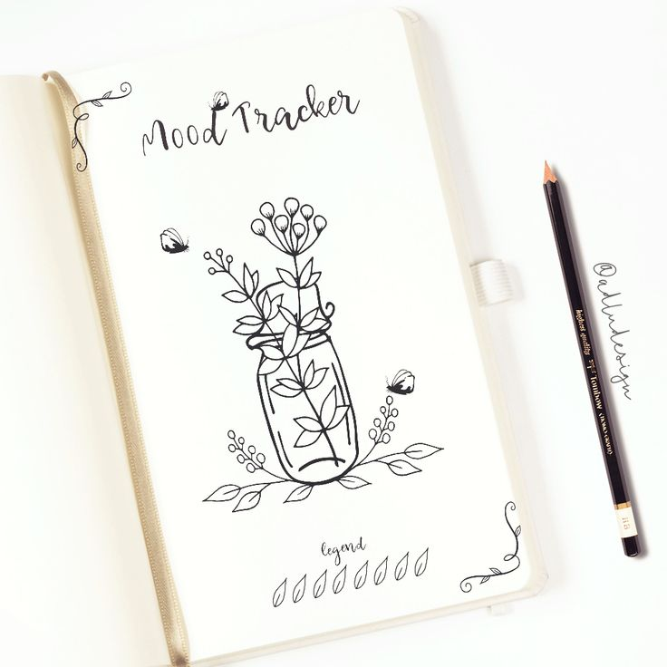 Monthly Mood Tracker PRINTABLE / Bullet Journal Insert / Leaves and Flowers Tracker / 31 days