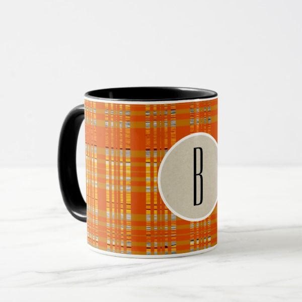 Orange Plaid & Brown Kraft Rustic Monogram Initial Mug #halloween #holiday #drinkware #party #cups