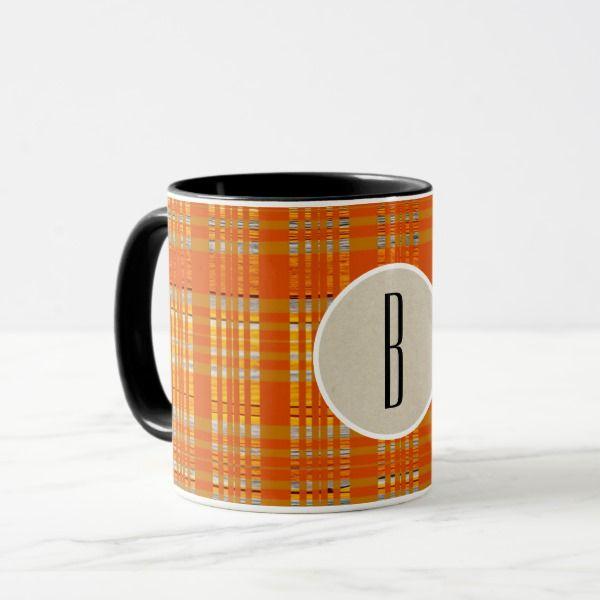 Orange Plaid & Brown Kraft Rustic Monogram Initial Mug #halloween #holiday #drinkware #party #cups