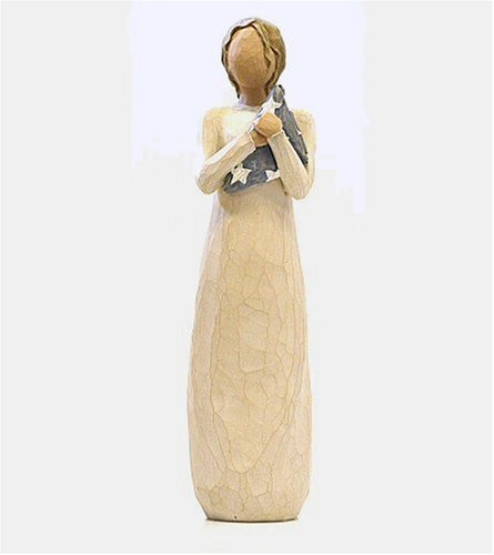 "$20.40-$28.00 Willow Tree 26152 Hero Figurine - Willow Tree Hero Figurine by Susan Lordi. Resin. 9.5"" high. Gift boxed. Woman figure holding folded American flag.  Since 2000, Susan Lordi has been creating these figurative sculptures that speak in quiet ways of deep emotion and inspiration.  Artist Susan Lordi carves each original sculpture, then pieces are cast from her original carving in resin ..."