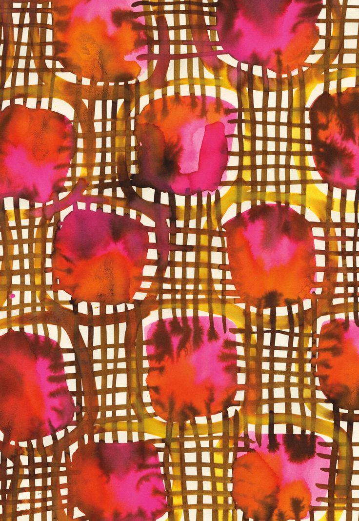 Pattern Box | Leanne ShaptonLe travailler en 2 temps : le quadrillage puis coller les formes travaillées à l'encre.