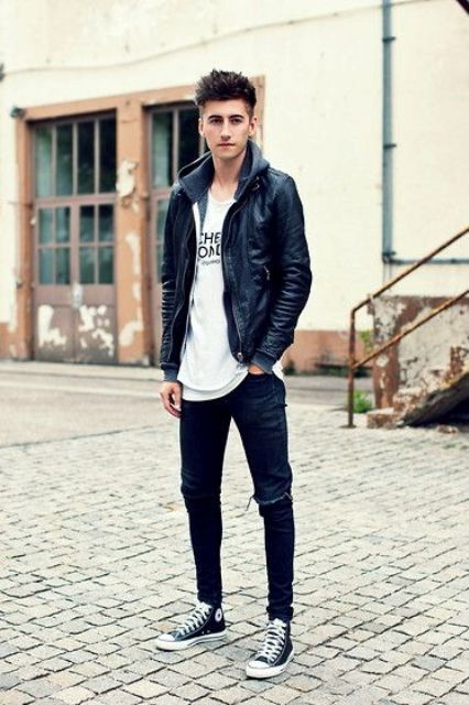 Black Leather Jacket, A Printed Tee, Black Ripped Jeans -6289