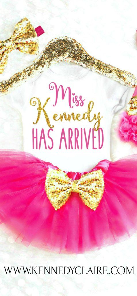 Adorable Baby Girl Coming Home Outfit makes the perfect personalized Baby Girl Gift! Perfect for newborn photos, gender reveal onesie, newborn girl gift, take home outfit, baby girl onesie, personalized onesie.