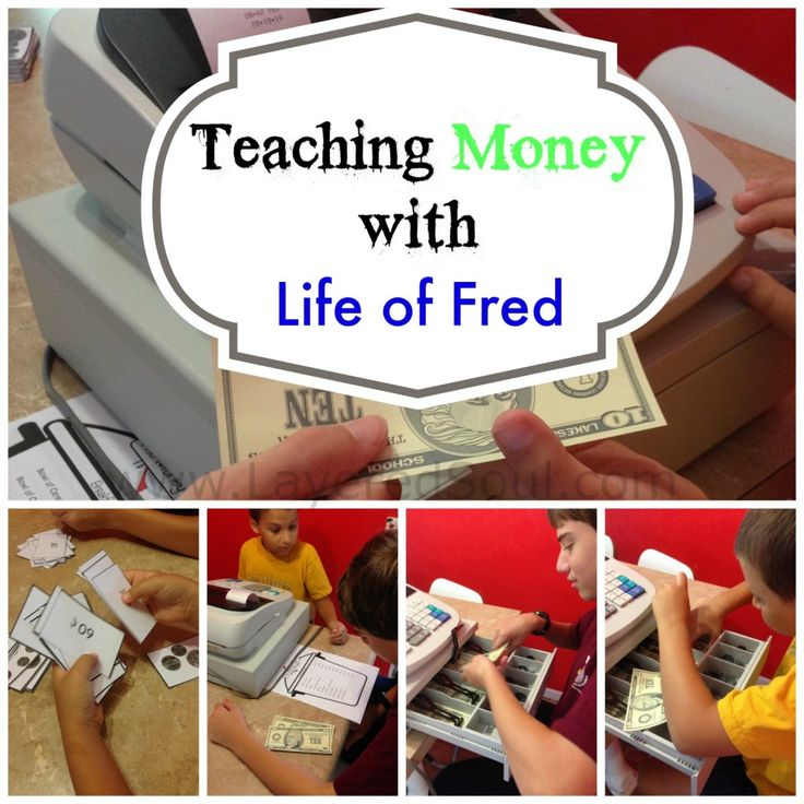 Teaching Money with Life of Fred first four books. Includes printables and activities.