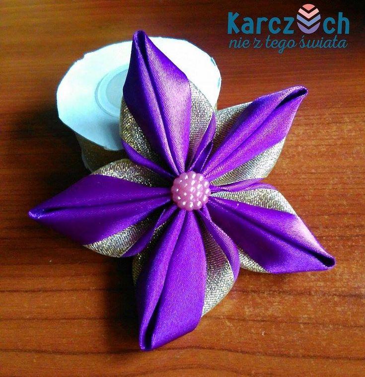 hoja con cinta de raso - Kanzashi #8