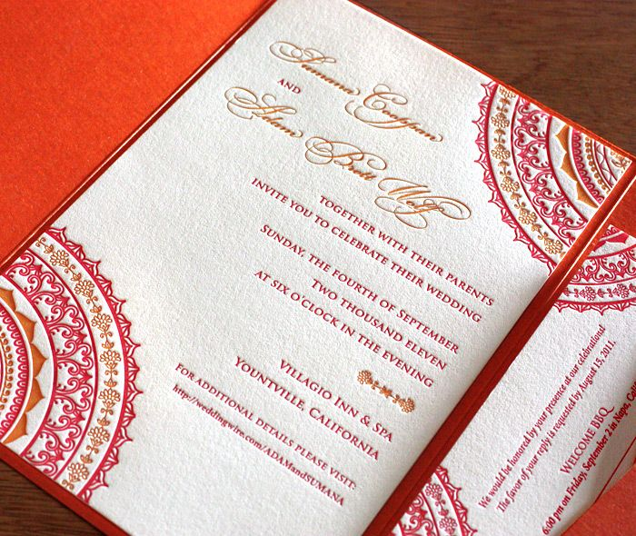 neha letterpress wedding invitation by invitations by ajalon