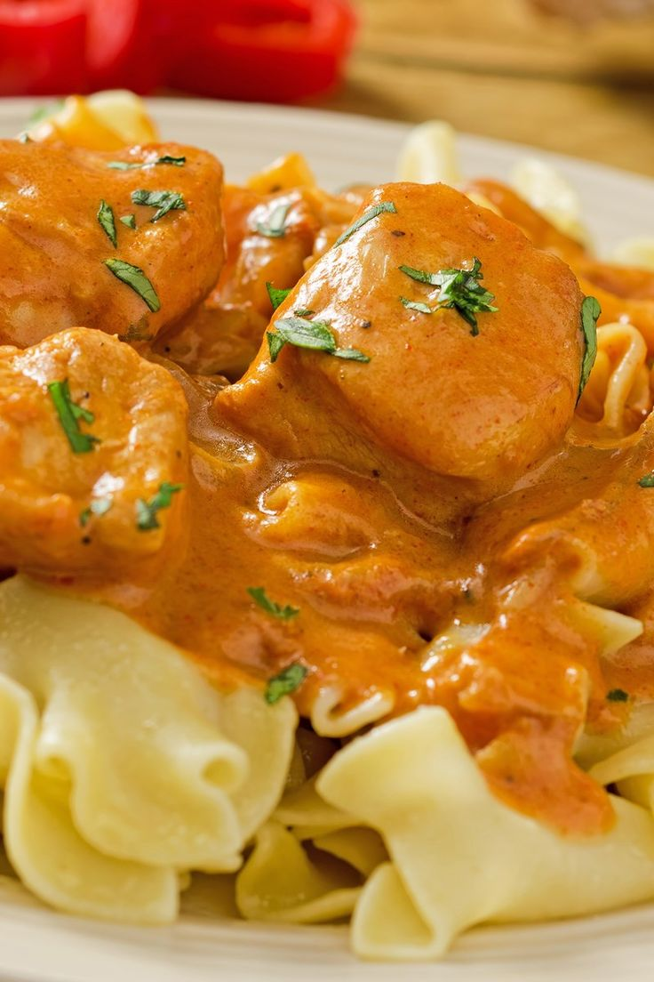 Skillet Chicken Paprikash Recipe with Onion, Chicken Broth, Paprika, and Sour Cream