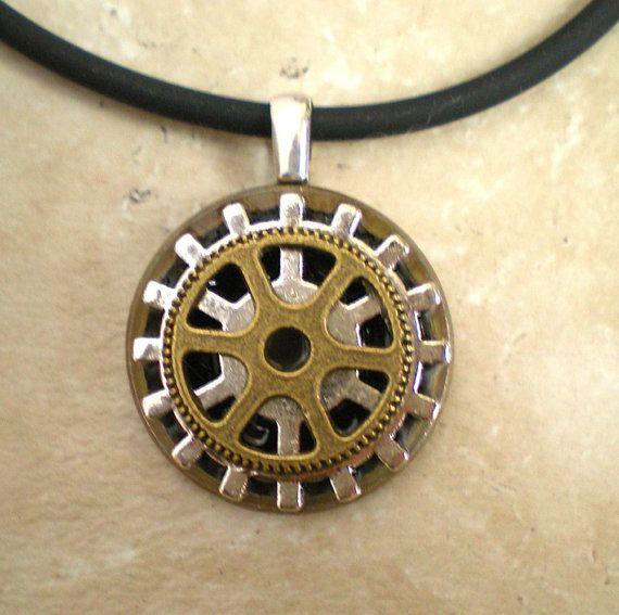Gear Necklace Steampunk Jewelry Mens by MaddDoggofTomorrow ...