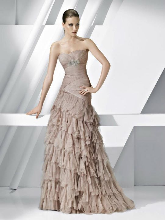 Fabulous A Line Strapless Chiffon Pronovias Prom Dresses