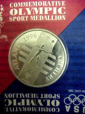 USA 1996 Olympic Archery Team Token from Atlanta Georgia GA. Nice General Mills Sport Medallion Collectible.