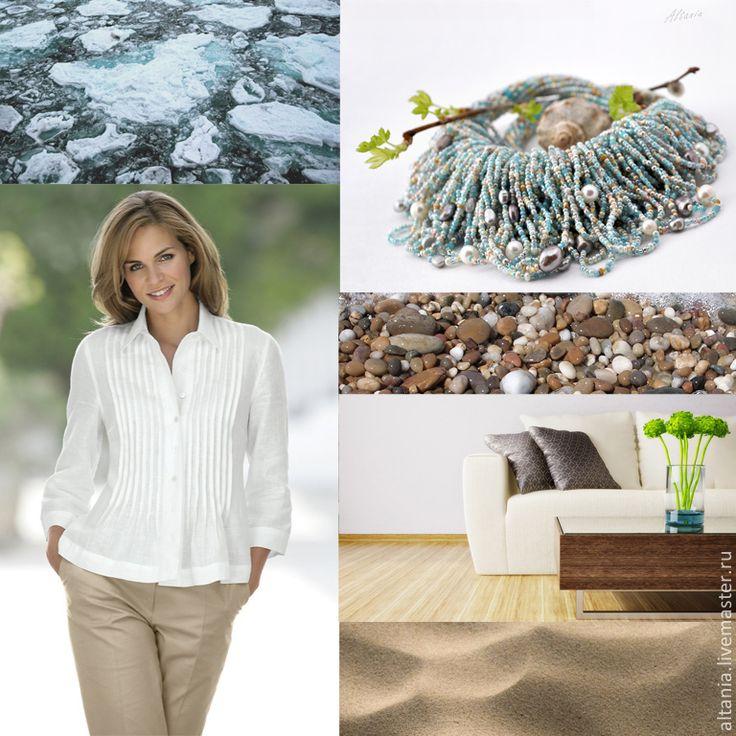 Купить Лёд и песок - колье - бисерные нити, украшение из бисера, бижутерия из бисера, бисерный жгут