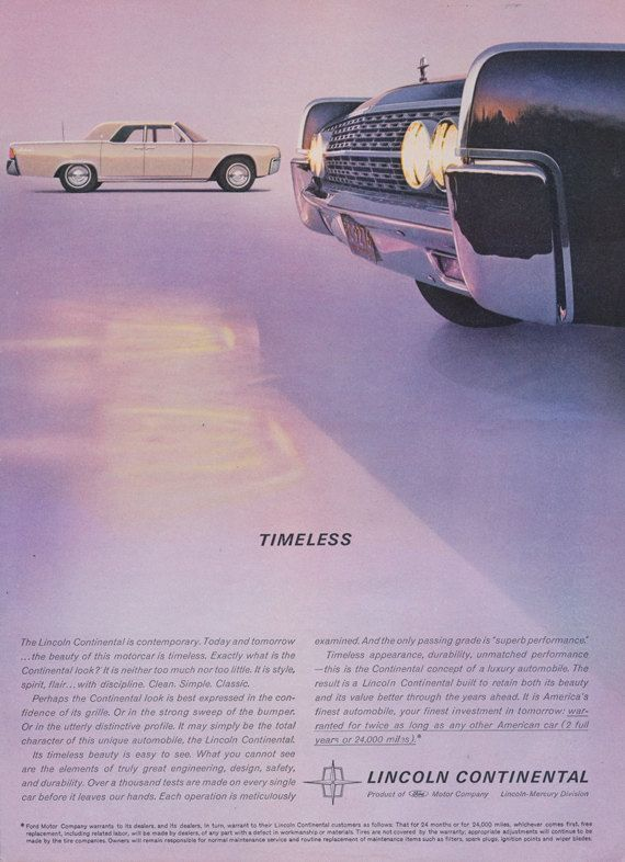1962 Lincoln Continental Car Ad Ford Automobile by AdVintageCom