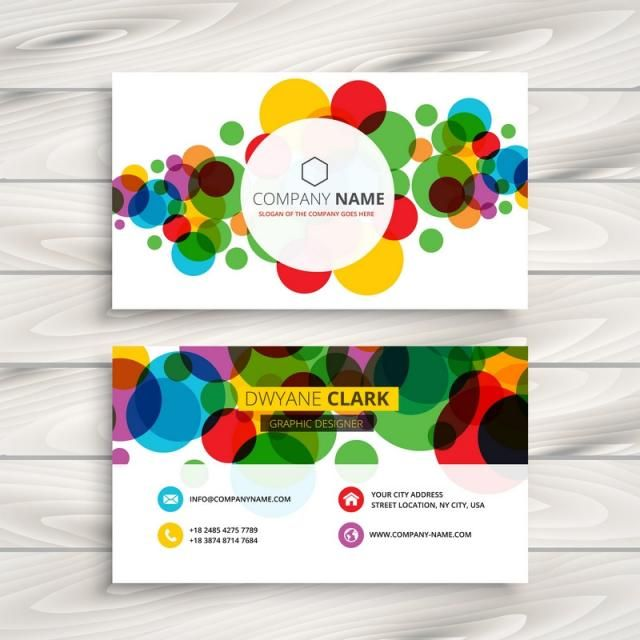 Colorful Circles Business Card Template Vector Design Illustration Circle Business Cards Business Card Template Design Vector Business Card