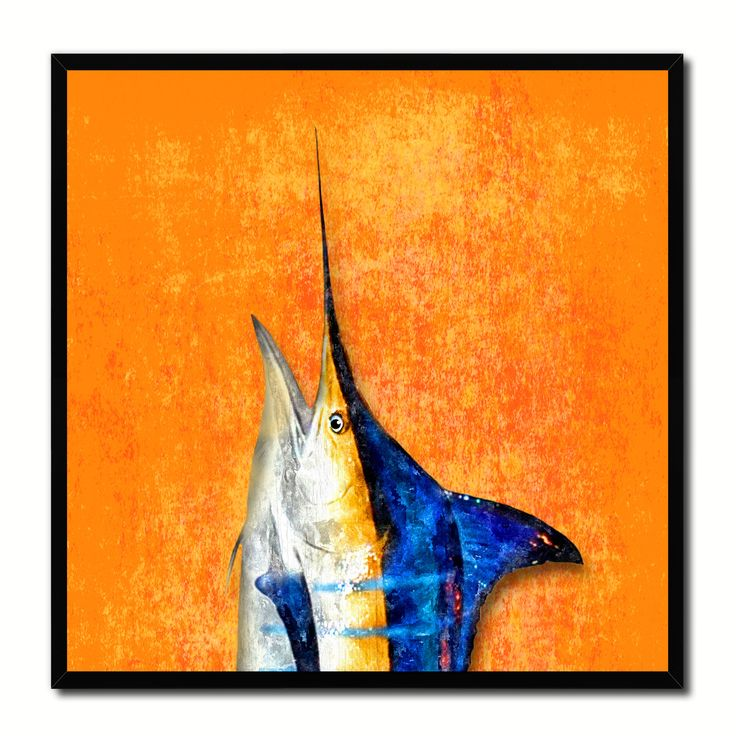 Blue Marlin Fish Head Art Orange Canvas Print Picture Frame Wall Home Decor Nautical Fishing Gifts