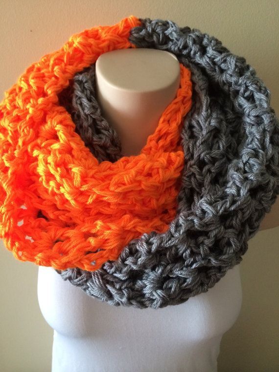 iScarf  Long Crocheted Infinity Scarf  Grey/Neon Orange by iHooked