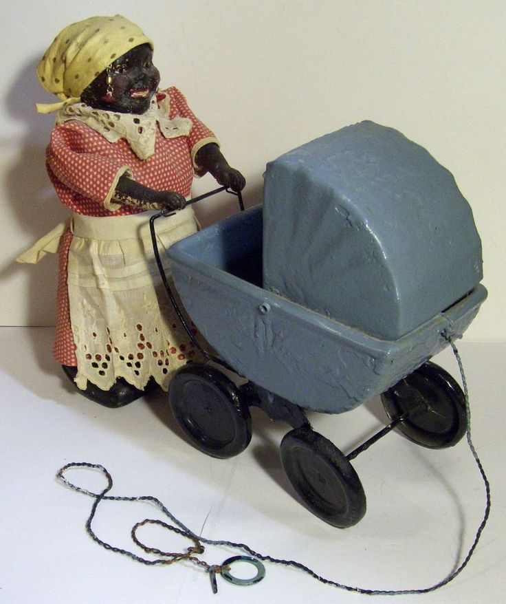 RARE LARGE ANTIQUE BLACK AMERICANA MAMMY AUNT JEMIMA COMPOSITION PULL WALKER TOY