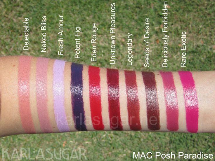MAC, Posh Paradise, Mattene, lipstick, swatches, Naked Bliss, Rare ...