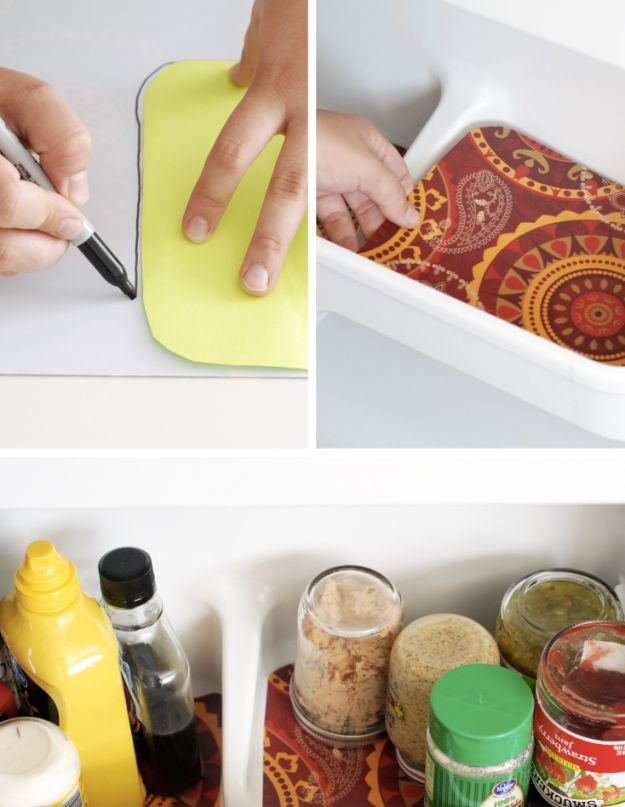 Line every drawer and shelf with washable placemats. | 18 Clever Ways To Organize Your Fridge So It Never Gets Dirty