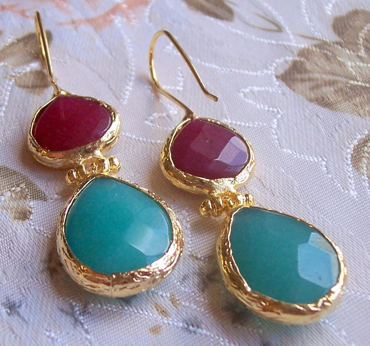 Handmade double stone earings with tear drop agates, colours blue and red,  gold plated and semi precious gemstones, jewelry and balance by GardenOfLinda on Etsy